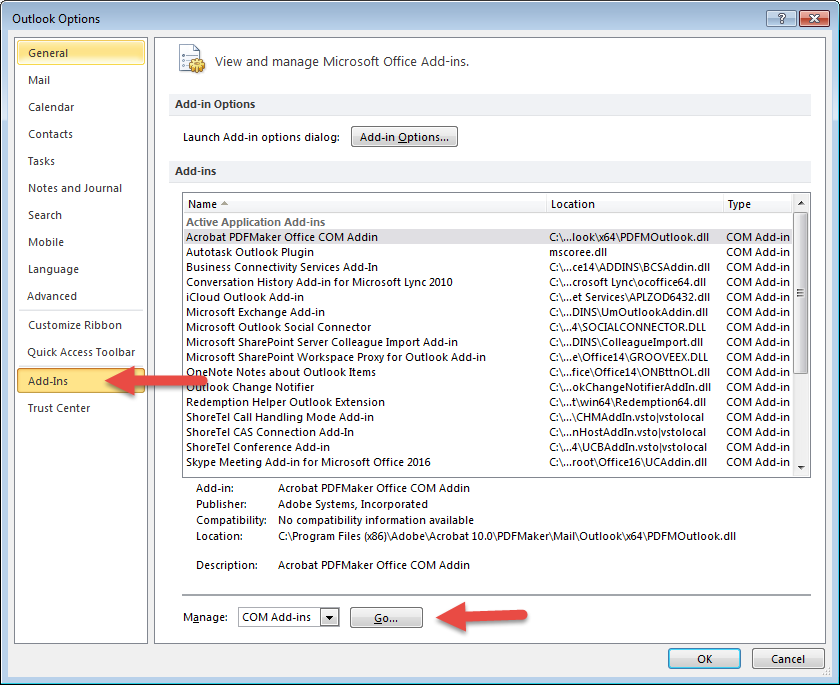 Why doesn't the Outlook Plugin load automatically when I